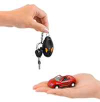 Keys over hand with car